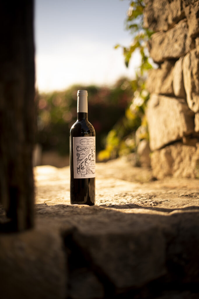 Imatge amb l'Ampolla del nostre vi Mercès a l'entrada de la finca de Mas Fogonussa amb el jardí de fons.