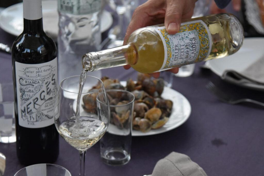 Imatge amb un grup de persones que están catant vins. A la taula hi ha ampolles de Clarors i Mercès i uns aperitius.